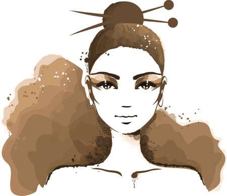 beautiful girl face: Watercolour portrait