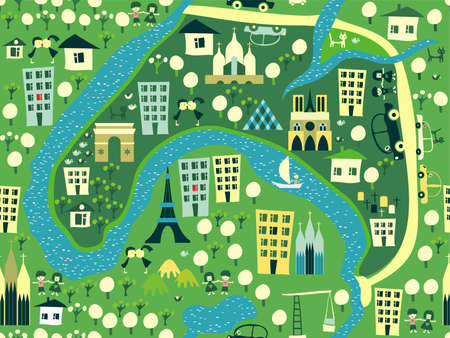 megapolis: Paris seamless pattern