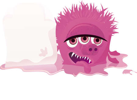 bacteria cartoon: monster with banner