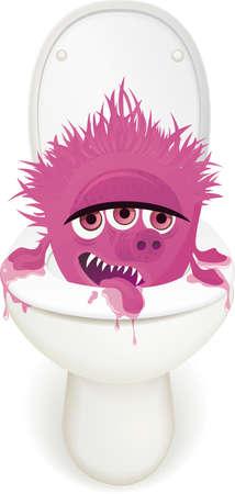 cartoon bacteria: toilet monster Illustration