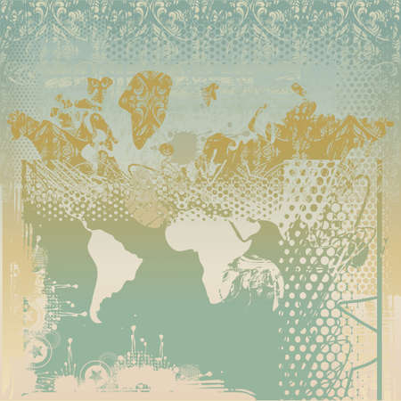grungy map of the world Vector