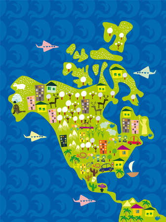 north america: cartoon map of usa