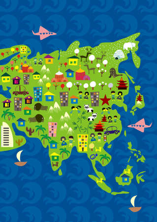 map of asia: cartoon map of asia
