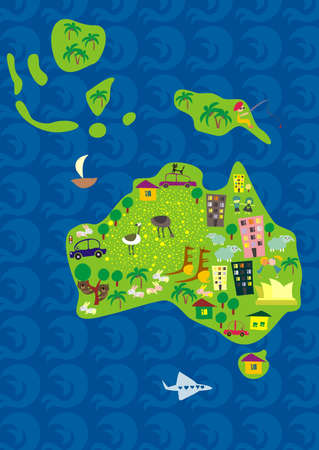 oceania: cartoon map of australia