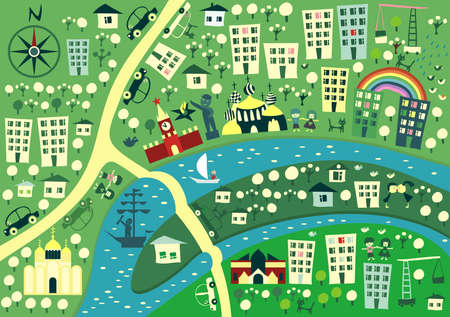 megapolis: cartoon map of moscow Illustration