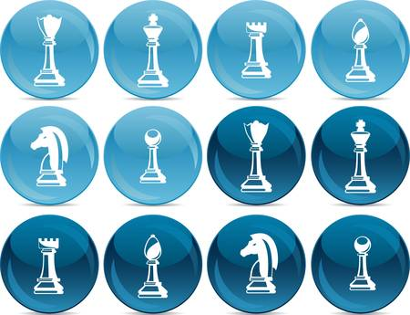 chess pieces, white in light blue balls, dark in dark blue balls Vector