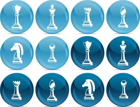 chess pieces, white in light blue balls, dark in dark blue balls