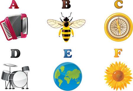 alphabet A to F Vector