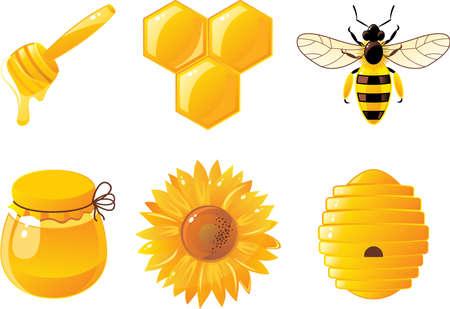 abejas panal: 6 de abeja y miel de iconos Vectores