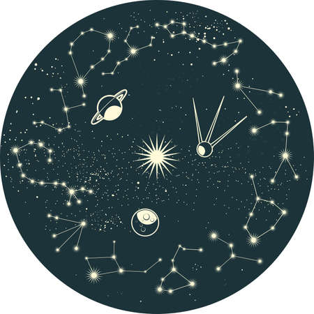sputnik: zodiac constellation with planets and satellite
