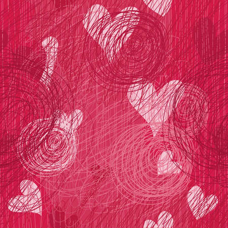 seamless doodle heart background Vector