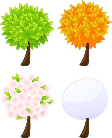 pear tree: 4 trees in different seasons in vector