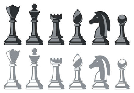 pawn king: black and white chess pieces isolated on white Illustration