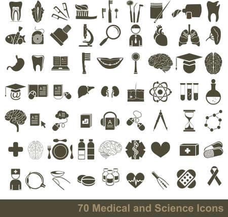 シンボル: 70 の医療、科学、解剖学的なアイコン