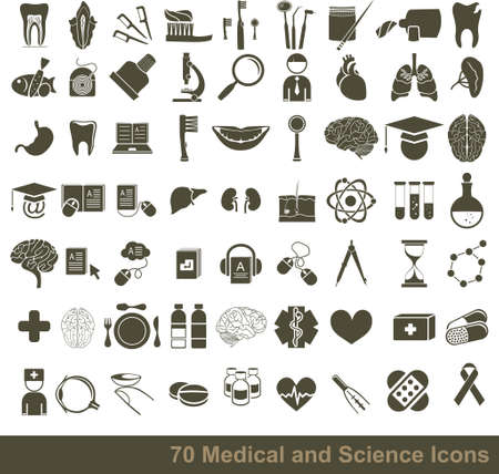 70 medical, science and anatomical icons Vector