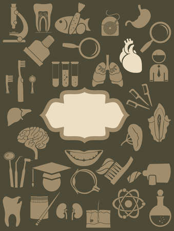 retro medical icons background with banner Vector