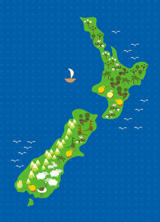 flora and fauna of new Zealand Vector