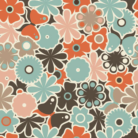 seamless retro floral pattern Vector