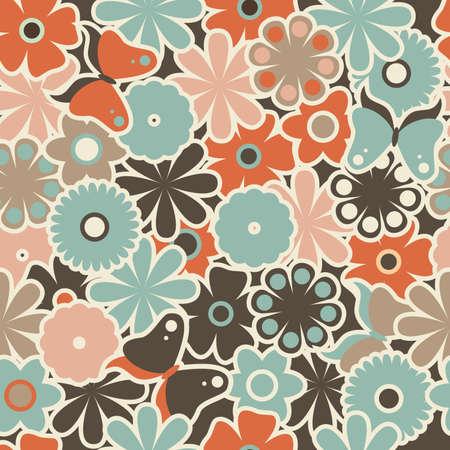heterogeneous: seamless retro floral pattern