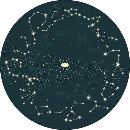 constelaciones: cielo retro con los signos del zodiaco