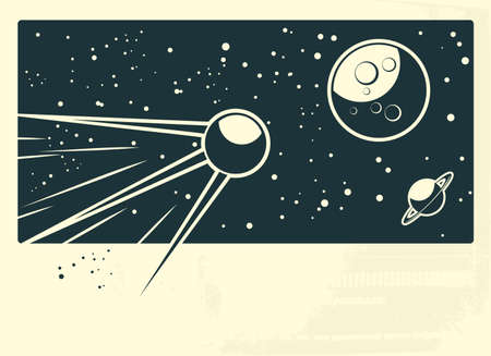 sputnik flying to the moon with banner under Vector