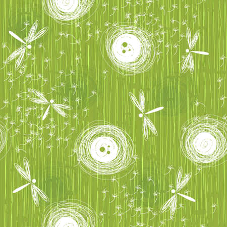 dandelions with dragonflies Vector