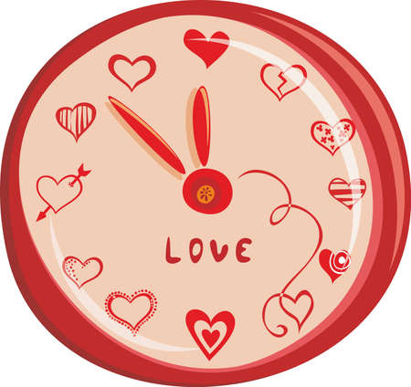 numerals: romantic watch design with hearts for st valentine Illustration