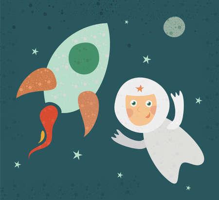 a cartoon cosmonaut Vector