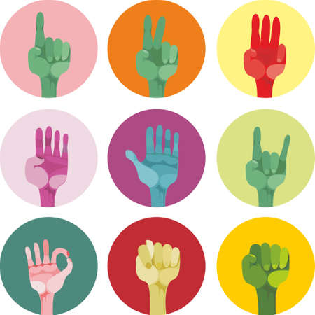 9 icons with different gestures Vector