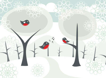 garden key: winter landscape Illustration