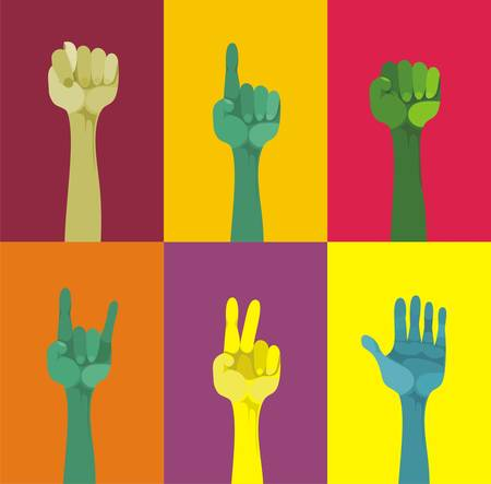 protest sign: hands up, different gestured, different colours