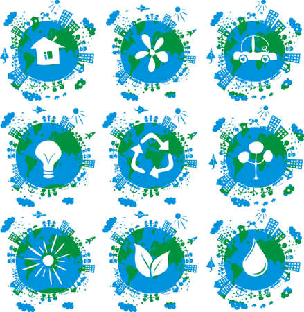 cartoon earth: 9 globes with eco icons on