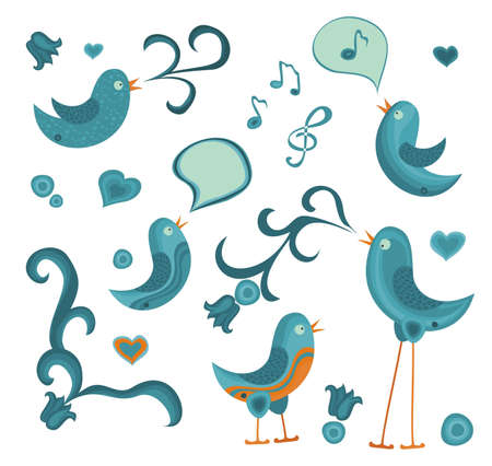 cute tweet birds with other graphic elements Vector
