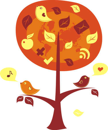 song bird: birds on a tree with communication icons