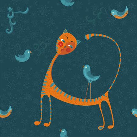 cat with birds Stock Vector - 11780505