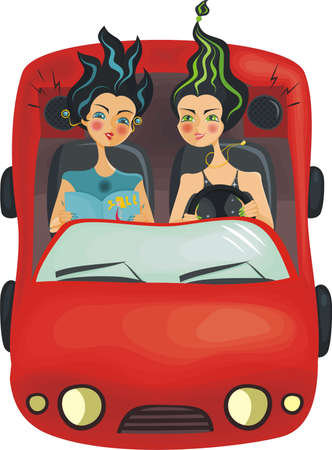 Beautiful girls in car Stock Vector - 11780465