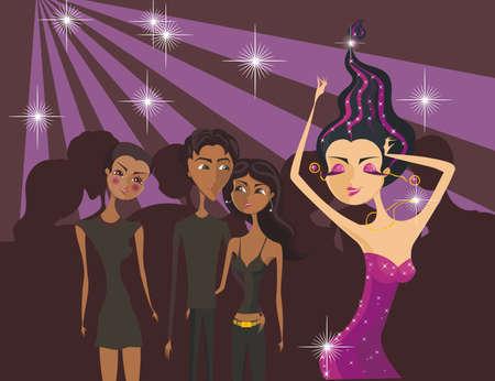 disco girls: Cartoon dancing gir