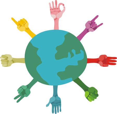 mundo manos: diferentes gestos y el planeta, que simboliza a diferentes formas de pensar de la gente en la tierra