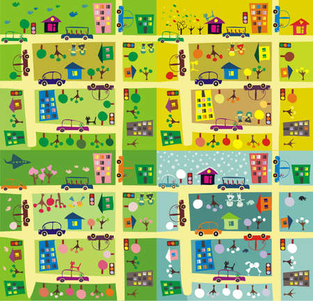 multistory: the same street during 4 seasons Illustration
