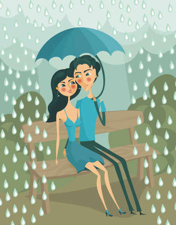 lovers under rain Vector