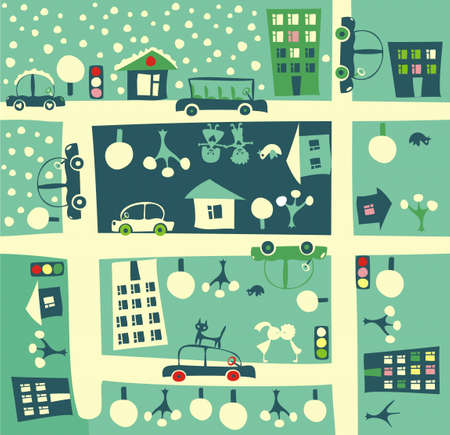 town homes: cartoon street in winter