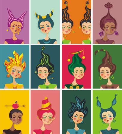 aries zodiac: vector horoscope illustration