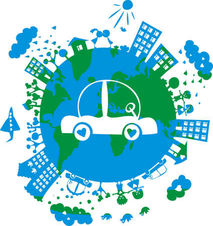 conceptual eco image of globe with icon of car on Vector