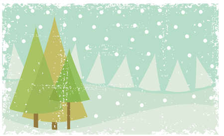 grunge winter landscape Vector