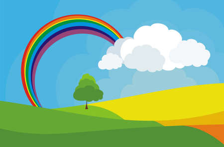 a beautiful autumn landscape with rainbow Vector