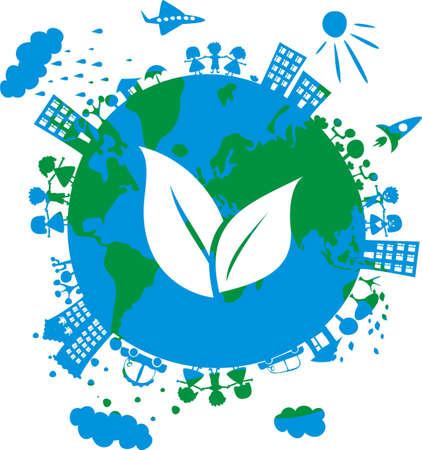 imagen conceptual ecológico del globo con el icono de la hierba en Ilustración de vector
