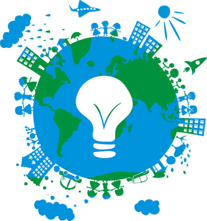 environment drawing: conceptual eco image of globe with icon of bulb on Illustration