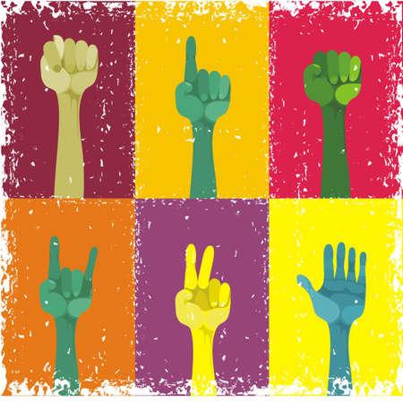 verkiezingen: grunge handen omhoog, verschillende gebaarde, verschillende kleuren Stock Illustratie