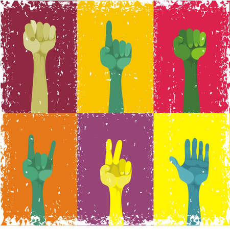 volunteering: grunge hands up, different gestured, different colours