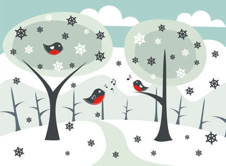 winter landscape with birds singing to each other  Vector
